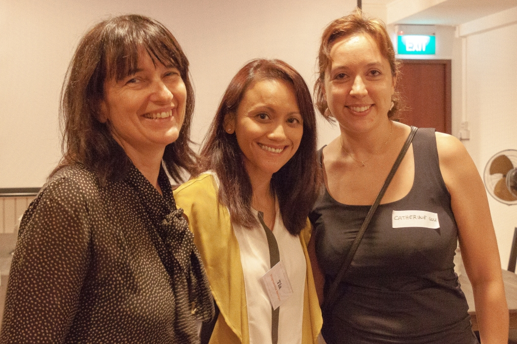 Catherine Wu (extreme right) with Aidha volunteers Tia Sutresna and Marina Chiericato