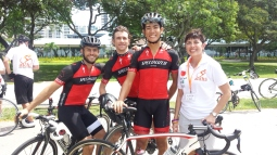 Aidha CEO, Karen Fernandez, with marshals and official cycling partners, the Mavericks.